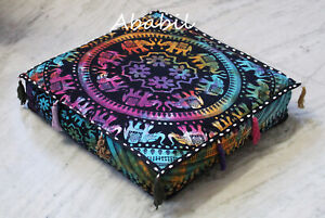 "18X4"" Square Elephant Mandala Box Cushion Cover Seat Covers Room Decorative Art"