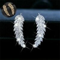 Vintage Women  White TopazSilver  Leaf Ear Hook Dangle Drop Earrings Gift