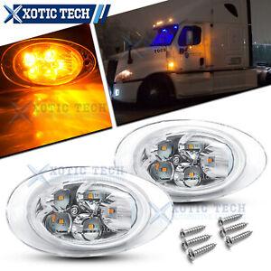 Clear Lens LED Cab Side Marker Turn Signal Light For 08-17 Freightliner Cascadia