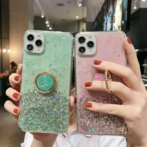 Bling Glitter Sparkle Ring Stand Case Soft Cover For All iPhone Samsung Huawei