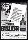 PUBBLICITA' 1935 FERRO CHINA BISLERI ACQUA MINERALE NOCERA UMBRA MEDICINA CHINA