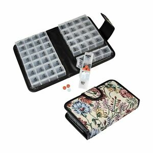 Floral Pill Case Box, Pill Organizer 14 Day Pill Holder Travel Pill Container...