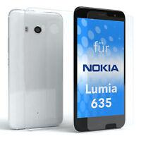 Schutzhülle + Panzerglas f. Nokia / Microsoft Lumia 635 Handy Cover Silikon