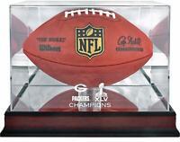 Green Bay Packers Super Bowl XLV Champions Mahogany Football Logo Display Case