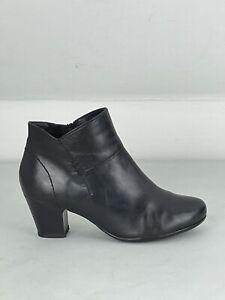 JONES Bootmaker Ladies Black Leather Mid Heel Ankle Boots UK 5 | EUR 38 | US 6