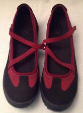 LANDS END NWOB Terrain Z Womens 10 B Black Red Suede Criss Cross Mary Janes NEW