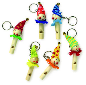 SET OF 6 WOODEN CLOWN WHISTLES ON KEYRINGS By LEGLER COLOURED HATS MUSICAL TOY