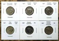 Canada 1967 Set of Six Nickels - Gem BU, Rot. Dies, PL, Dbl. Rabbit & Forehead!!