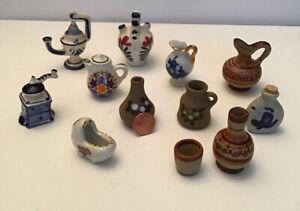 Miniature Dollhouse Lot of 12 Assorted Porcelain Ceramic Vases, Pitchers Etc.