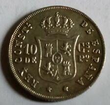 1885 Spanish-Phil coin, 10cs, VF-EF