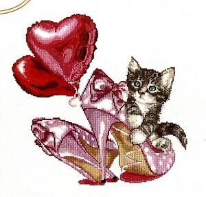 """Thea Gouverneur """"Valentine's Kitten"""" Cute Love Counted Cross Stitch Kit"""