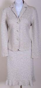 ST.JOHN Womens Suit Gray Ivory Sequins Shimmer Rhinestone Jacket Skirt Sz 8-10
