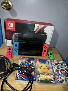 Nintendo Switch Neon Grenn, Pink, Red and Neon Blue Joy-Con Console Lot Bundle