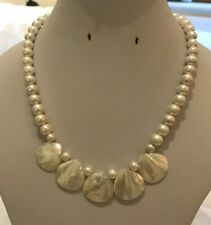 Frosted White Shell Pearl & Shell Necklaces with Silver Plated Findings