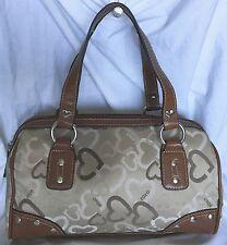 XOXO hand bag canvas heart print 2 strap Brown Beige small