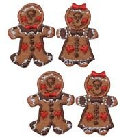 Mini Gingerbread Girls and Boys Christmas Applique Patch (4-Pack, Mini, Iron on)