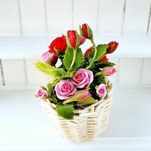 Dollhouse Miniatures Flower Rose Rattan Basket Fairy Garden Room Home Decoration