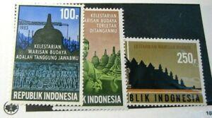 Indonesia Stamp Scott#  1186-1188 Restoration of Borobudur Temple 1983 MNH  H79