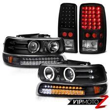 00-06 Suburban 5.7L Halo Projector Headlights LED Black Bumper Bulbs Tail Lights