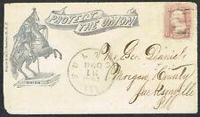 USA 1861 3c Civil War Patriotic Cover Washington on Horseback FULTON Contents