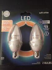 GE 40W Soft White B11 Blunt Tip Clear Candelabra Base ED Light Bulb (2-Pack)