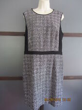 Banana Republic size 14 Dress Black White Knit Metallic Threading Drop Waist