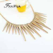 c-High Gloss Golden Light Alloy Spike Pendants Statement Necklace Chain Jewelry