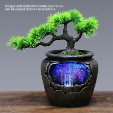 Desktop Ornament Fountain Artificial Plant Waterfall Light for Office Home Decor