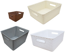 Small Medium Large RATTAN Plastic Storage Baskets Boxes Container Stackable Unit