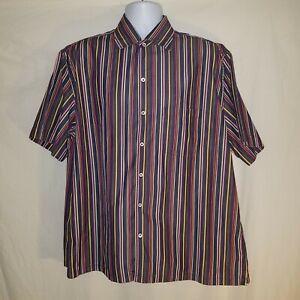 Brioni Vintage Short Sleeve Button Sport Shirt Neiman Marcus XL Navy Multicolor