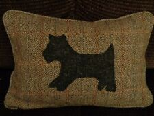 "HARRIS TWEED HAMISH WITH SCOTTIE DOG APPLIQUE 18"" X 12"" FEATHER INNER"