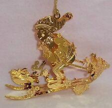 "Danbury Mint - 2002 Gold Christmas Ornament - ""Skier's Delight"""