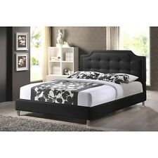 baxton studio carlotta black modern bed with upholstered new