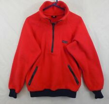 Vtg 70s 80s Patagonia Big Logo Red Fleece Pullover 1/2 zip Sz L