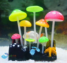 Aquarium fish tank decoration ornament soft fluorescence color mushroom Ak561