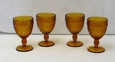 Vintage Indiana Tiara Glass Set of 4 Amber Wine Glasses Sandwich Pattern