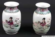 China 20. Jh. Fencai Vasen A Pair Of Chinese Famille Rose Vases - Cinese Chinois