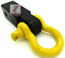 "New Yellow D-Ring Solid Shank Shackle Capacity 10,000 lb 2"" Receiver Hitch"