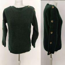 New George Women Jumper Knitwear Button Details Shoulder Green Forest UK 8/10