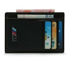 1 Carbon fiber & leather disign card holder and wallet with BMW M-Sport logo.