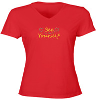 Be Yourself Juniors Girls Women Vneck Tee T-Shirt Gift Print Shirts Bee Yourself