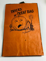 Vintage Halloween Trick or Treat Bag Pumpkin Haunted House Storpak walden ny