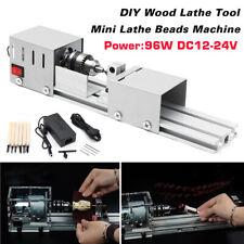 Mini Lathe Beads Machine Woodworking DIY Lathe Standard Set with Power DC 24V UK