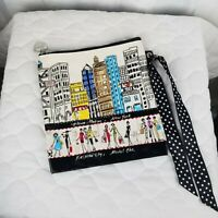 Brighton Fashion City Large Zippered Pouch Cosmetic Bag Ribbon Accent EUC