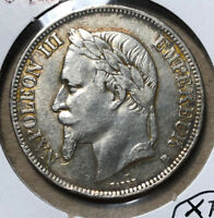 1870-BB France 5 Franc Strasbourg Silver Coin XF Condition
