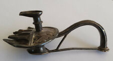 Antique silver Indo Persian Jain votive oil lamp Gujarat Hindi or Farsi text