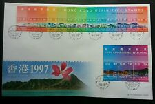 Hong Kong Definitive Scenes 1997 (FDC) *official postmark (High + Low Value)