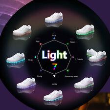 Boys Girls Kids LED Light UP Luminous Shoes Casual Sports Sneakers White Black