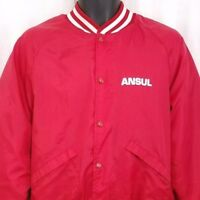 Ansul Mens Satin Bomber Jacket Vtg 80s Fire Suppression Made In USA Size Medium