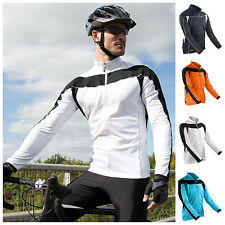 Mens Long Sleeve Cycling Jersey Top Full Zip Breathable Lightweight S – 2XL